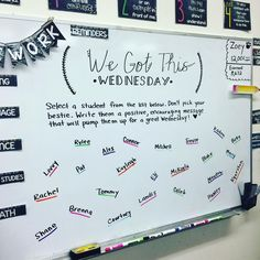 """#wegotthiswednesday #miss5thswhiteboard #teachersofinstagram #teachersoftpt #iteachfifth #teachergram #teachersfollowteachers #classroomcommunity…"""
