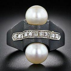 Marsh - AMarsh & Co Art Deco Blackened Steel Pearl and Diamond Ring c. 1930.