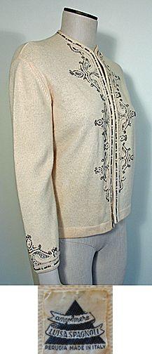 5587db7ecd Vintage 1960s Italian Cream Beaded Cardigan Sweater by Luisa Spagnoli