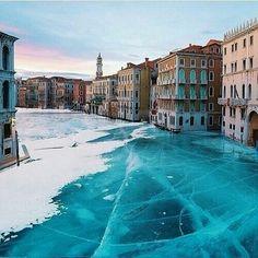 Frozen waterway, Venice Italy