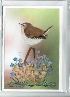Grüße - Grußkarte - Zaunkönig , handgemalt - ein Designerstück von Vogelmalerin bei DaWanda