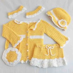 Maggie's Crochet · Sunny Days Ensemble Crochet Pattern/ Sweater, skirt, hat, bag and hem bands for jeans.  Cute or what!  Picture it in Blue/white or Teal/Brown!