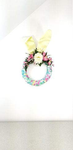 Dan Dee Purple Pink White Bunny Ears Headband With Green Floral Ears And Hat