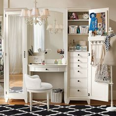 makeup hair vanity LOVE LOVE LOVE!  This is PERFECT!  can store all my stuff in it!  make mine dark, though.