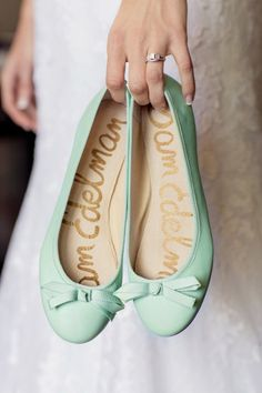 Pretty mint flats and a pretty way to show the shoes and the ring.