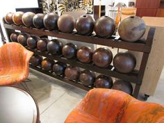 Vintage bowling balls & rack from @1stdibs at @NYDC