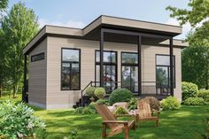 Downsize to this Tiny house plan or use it as a Vacation retreat.The open layout makes the most of the small living size and expands the views. Modern Tiny House, Tiny House On Wheels, Small House Plans, House Floor Plans, Small Room Design, Tiny House Design, Modern House Design, Cabin Design, Plan Chalet