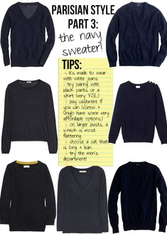 a navy sweater. Parisian Style part 3.