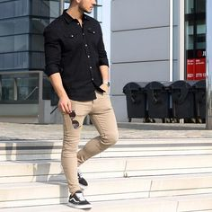 Black shirt beige chinos and vans by @louisdarcis [ http://ift.tt/1f8LY65 ] #royalfashionist