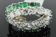 Ferro Jewelers - Estate Jewelry | EMERALD AND DIAMOND DESIGNER RING