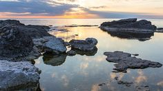 Sunset over sea  http://5kwallpapers.com/wall/sunset-over-sea-2  #nature #sea #ocean #water #stones #sun