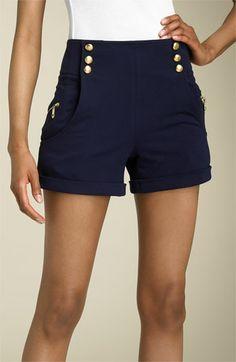 LaROK Sailor Shorts available at Cute Shorts, Casual Shorts, Shorts Tights, Houston Shopping, Nautical Shorts, Look Fashion, Fashion Outfits, Summer Outfits, Cute Outfits