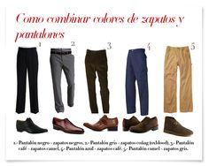 Cómo combinar colores de zapatos y pantalones? Hombres