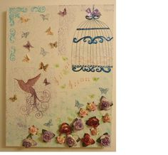 Birds and butterflies romantic canvas (mixed media)