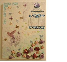 Birds and butterflies romantic canvas (mixed media)