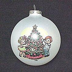 Campbell Soup Kids Christmas Tree Ornament. 1986 Vintage Glass Ball.