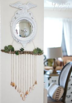 diy seashells plants wall hanging
