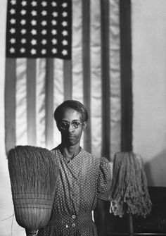 Gordon Parks (artist) American, 1912 - 2006 Washington, D. Government Charwoman (American Gothic), July 1942 gelatin silver print, printed later framed: × × cm × 32 × 1 in.) image: × 81 cm × 31 in.) Corcoran Collection (The Gordon Parks Collection) Gordon Parks, Grant Wood, American Gothic, American Flag, American Pastoral, Black Art, Fotojournalismus, Walker Evans, Street Photography