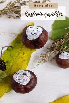Kastanien DIY: Kastaniengesichter basteln ist eine kreative Herbst Bastelidee für Kinder und Erwachsene. Die Kastanien Gesichter eignen sich gut als Herbstdeko Idee und lassen sich auch in ein Herbst Gesteck einbinden. Washer Necklace, Diy Presents, Craft Instructions For Kids, Fall Halloween