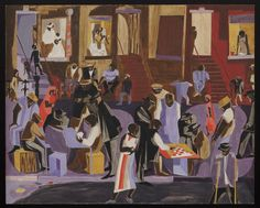 """Jacob Lawrence. Street Shadows. 1959, Egg tempera and pencil on gessoed board, 24 x 29 7/8"""" (61 x 75.9 cm)."""