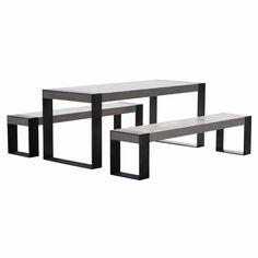 Conjunto de mesa e bancos contemporâneo / em concreto / em aço / de jardim Bench and table set by CHILLART® REALCEM®. Realcem.com