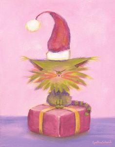 Christmas Cranky Cat - Santa Hat