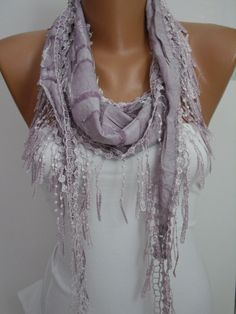 Lilac Shawl and Scarf  Headband  Cowl with Lace Edge by DIDUCI, $14.50