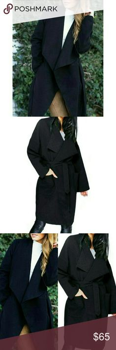 ⭐NEW! Best Selling Black Belted Trench Coat Duster Customer Rated 5⭐'s  Absolutely Gorgeous.. Super Comfy & Warm  Black  Waterfall draped collar Loose Fit/Oversized Super soft, warm & cozy Side pockets Poly Blend Wool Fleece Esque  Medium Weight  Lightly Lined Dry Clean or spot clean if needed Sizes S-M-L   It's all about trench coat dusters this season.. More styles and colors in my closet!  Great for layering!  Also in Camel.. See individual listing.  ▪ Price is Firm No Exceptions  ▪ No…
