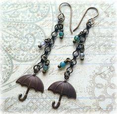 Umbrella Earrings Brass Umbrella Rain Earrings by SeekingEmber
