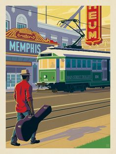 Anderson Design Group – American Travel – Memphis, TN: Trolley Downtown Memphis, Memphis Tennessee, Retro Illustration, Illustrations, Alaska Travel, Alaska Cruise, Cool Posters, Retro Posters, Vintage Travel Posters