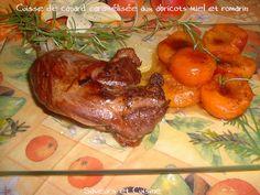 Canard confit, abricots, miel et romarin