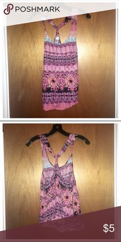 Lightweight Tank Top Multi-colored racerback, flowy tank top. Lightweight (100% rayon). Small pocket on the upper left side. Pinky Tops Tank Tops