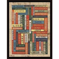 Books Of The Bible Distressed Spines Titles Religious Painting Blue & Red, Framed Canvas Art by Pied Piper Creative, Brown