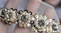 ceinture nuptiale garniture de dentelle perlée bordé de par LaceFun