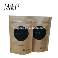 custom logo brown paper stand up tea packaging with zipper