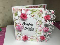 Birthday card using Die'sire Georgia die, Sue Wilson Indian Ocean die Maldives, Sue Wilson orange blossom leaves and Britannia large and medium rose dies.  Created and uploaded by Linzi Atherton.  🤗