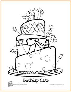 Birthday Cake Age 3 Coloring Page