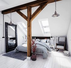 This could easily be my home, love everything about it! Jakub Komrska The post Dreamy white apartment with industrial vibes appeared first on Daily Dream Decor. Attic Master Bedroom, Attic Bedroom Designs, Attic Rooms, Master Bedroom Design, Home Bedroom, Living Room Designs, Attic Bathroom, Ochre Bedroom, Bedroom Ideas