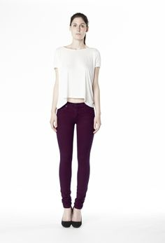 Second Clothing co.: Mid Rise Skinny - Aubergine