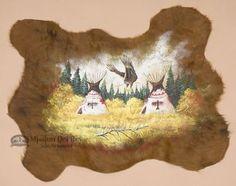 """Southwest Decor Painted Cow Hide 34""""""""x25""""""""- Indian Village (ph43)"""