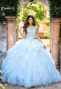 Blue Ball Gowns, Ball Gowns Prom, Ball Gown Dresses, Chiffon Dresses, Long Dresses, Prom Dresses, Formal Dresses, Light Blue Quinceanera Dresses, Cinderella Quinceanera Dress