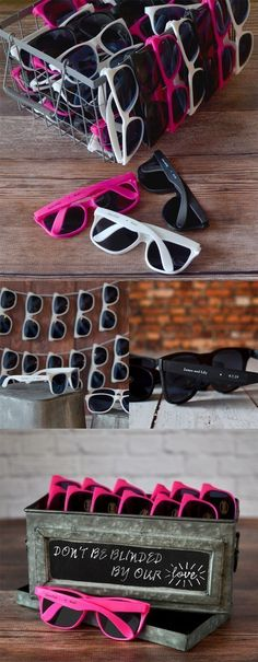 Sunglasses personalized with the bride and groom's name and wedding date are fun, affordable, and useful summer and destination wedding favors guests of all ages will love and appreciate during your outdoor or beach wedding reception. Set up a 'Fun In The Sun' station to include bottled water, sunscreen, hand fans, and sunglasses for useful wedding souvenirs guests will use all day. Personalized sunglass favors can be ordered at…