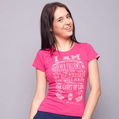 I Am The Light of The World Pink Tee