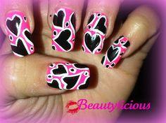 Hot pink w/black hearts by Beautylicious - Nail Art Gallery nailartgallery.nailsmag.com by Nails Magazine www.nailsmag.com #nailart