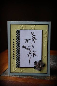 handmade greeting card: Oriental elegance by luvtostampstampstamp  ... soothing color combo in black, white, gray and pale yellow ... bird on bamboo ... Stampin' Up!