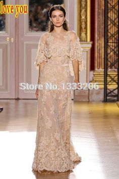 2015 Elegant Fashion High Quality High Collar Lace Zuhair Murad Evening Dress Women