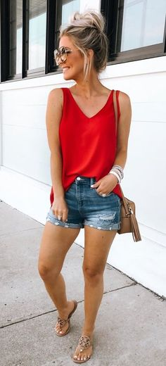 Red camisole and denim shorts. Casual Womens Fashion and Womens Cool Trending Clothes, Dresses. Source by thefinestfeed fashion casual Red camisole and denim shorts. Casual Womens Fashion and Womens Cool Trending Clothes, Dresses. Source by thefinestfeed Womens Fashion Casual Summer, Casual Summer Dresses, Cute Summer Outfits, Short Outfits, Spring Outfits, Cute Outfits, Dress Summer, Dress Casual, Teen Outfits