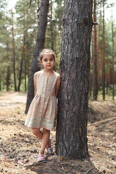 Linen Sundress, Girl Linen Dress, Beige Linen, Girl Summer Dress, Toddler Dress, Girl's Clothing, Classic Girl Dress, Beige and Mint Green