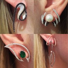 A first look at the designs of Kavant and Sharart Jewelry, available now at Fragments Jewel - can you help define them? We're thinking ear claws, elven inspirations, and statement pearls? Small Earrings, Emerald Earrings, Cuff Earrings, Body Jewelry, Fine Jewelry, Unique Jewelry, Ear Cuffs, Pearl Jewelry, Diamond Jewelry