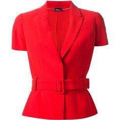 ALEXANDER MCQUEEN belt fastening blazer ($810) ❤ liked on Polyvore featuring outerwear, jackets, blazers, tops, coats & jackets, red jacket, alexander mcqueen blazer, short sleeve blazer, blazer jacket and short sleeve jacket